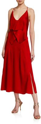 Roland Mouret Tolima Draped Hammered-Silk Midi Dress