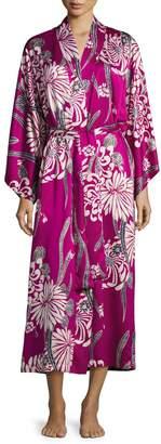 Natori Aziome Floral-Print Long Robe, Purple Pattern