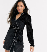 Fashion Union Petite mandarin collar allover diamante wrap dress with tie waist