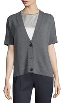 Peserico Short-Sleeve Oversized Boxy Cardigan, Gray