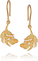Alex Monroe 22-karat gold-plated feather earrings