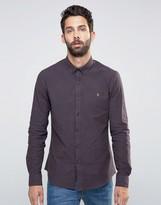 Farah Slim Oxford Marl Shirt Buttondown In Red
