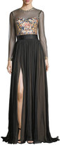 Catherine Deane Jocelyn Evening Gown w/ Embroidered Illusion Bodice & Pleated Skirt