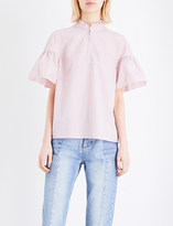 Sandro Striped ruffled cotton-poplin top