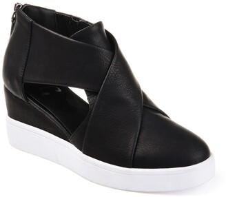 Journee Collection Seena Crossover Platform Wedge Heel