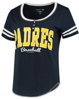 New Era Women's 5th & Ocean by Navy/White San Diego Padres Slub Henley T-Shirt