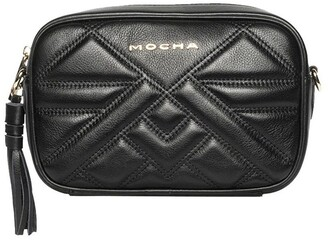 Mocha Aztec Leather Crossbody Bag-Black