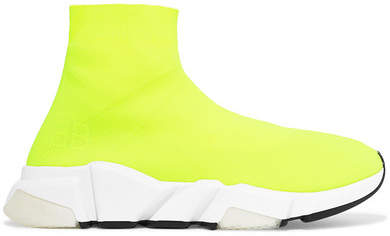 Balenciaga Speed Neon Stretch-knit High-top Sneakers - Yellow