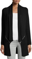 Neiman Marcus Long-Sleeve Double-Zip Cardigan, Black