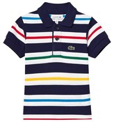 Lacoste Navy, White and Red Stripe Pique Polo