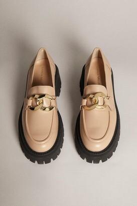Karen Millen Gold Trim Platform Leather Loafer