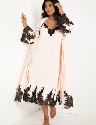 ELOQUII Satin Slip Dress with Lace Detail