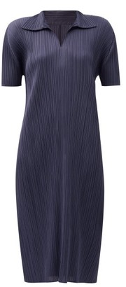 Pleats Please Issey Miyake Collared Technical-pleated Midi Dress - Navy