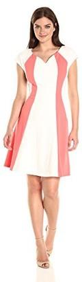 Sandra Darren Women's 1 Pc Extended Shoulder Knit & Lace V-Neck A Line Dress