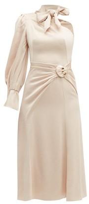 Peter Pilotto Tie-neck One-shoulder Satin Dress - Nude