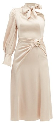 Peter Pilotto Tie-neck One-shoulder Satin Dress - Womens - Nude