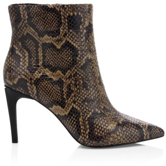 Ash Bianca Snakeskin-Embossed Leather Ankle Boots