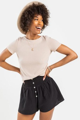 francesca's Averie Button Front Shorts - Black