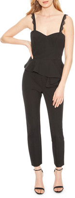 Parker Black Kimora Sweetheart Sleeveless Peplum Lace-Trim Jumpsuit