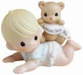 "Precious Moments 101500 Baby Gifts, ""The Sweetest Baby Boy"", Bisque Porcelain Figurine, Boy"