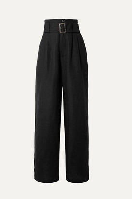 Solid & Striped Belted Linen-blend Wide-leg Pants - Black