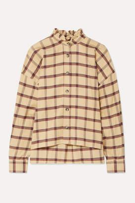 Etoile Isabel Marant Ilaria Ruffled Checked Cotton-flannel Shirt - Beige