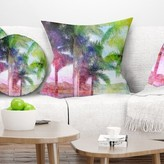 "Landscape Retro Palm Trees Pillow East Urban Home Size: 16"" x 16"", Product Type: Throw Pillow"