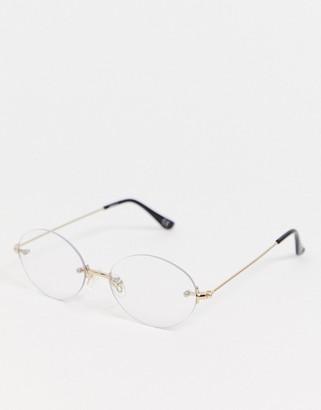 clear Asos Design ASOS DESIGN rimless oval lens glasses-Gold