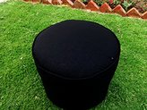 """Saffron Cotton Cord Piping Round Ottoman Footstool Pouf Cover (18""""W x12""""H, Black) COVER ONLY, Not Stuffed , Insert not Included"""