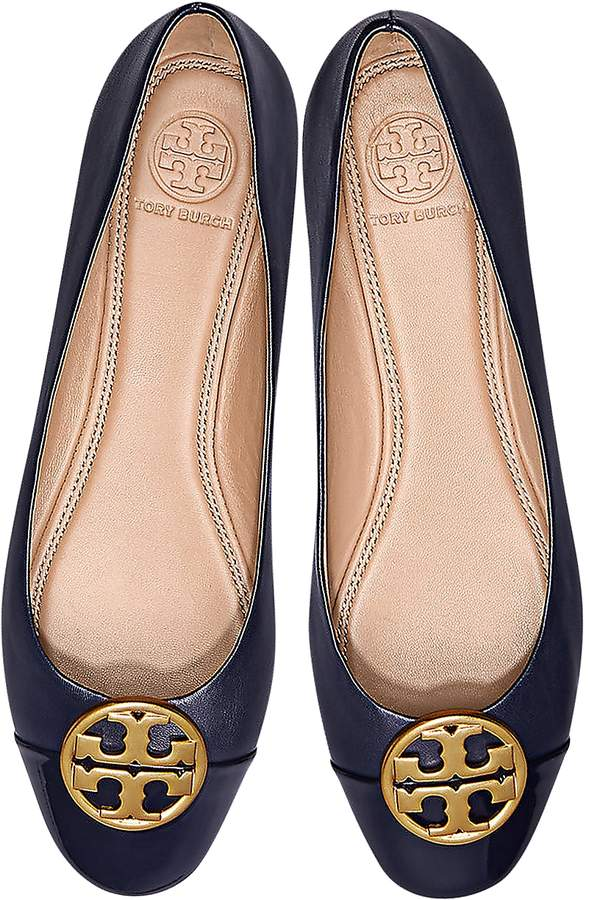 Tory Burch Black Nappa & Patent Leather Chelsea Cap-Toe Ballet Flats