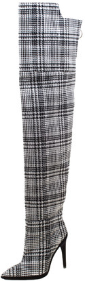 Off-White Black And White Tartan Plaid Over The Knee Boots 36