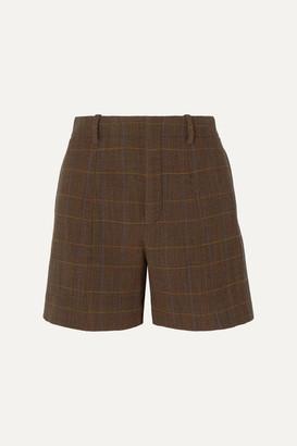 Chloé Checked Wool-blend Shorts - Brown