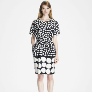 Marimekko Kentauri Komeetta Polka Dot Print Cotton Satin Dress - 40 - Black/White