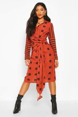 boohoo Mix Print Knot Midi Dress