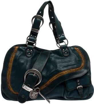 Christian Dior Green Leather Large Gaucho Double Saddle Shoulder Bag
