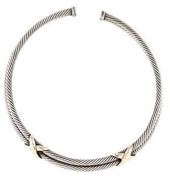David Yurman Double Row X Cable Collar Necklace