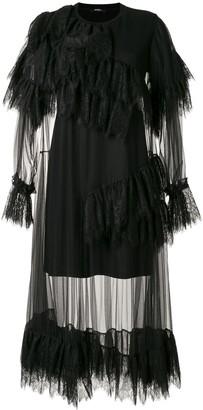GOEN.J Ruffled Lace Trim Layered Dress