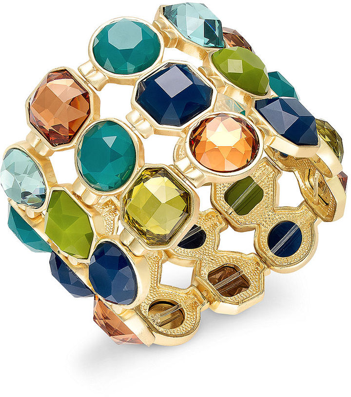Charter Club Bracelet, Gold-Tone Multi-Stone Stretch Bracelet