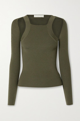Dion Lee Ribbed Merino Wool-blend Tank And Cardigan - Army green