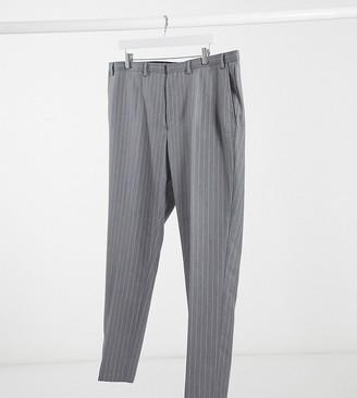 Burton Menswear Big & Tall skinny suit pants in grey & pink stripe