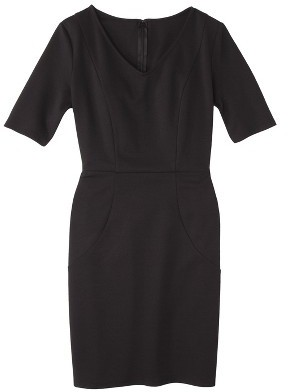 Merona Women's Ponte V-Neck Dress - Black