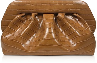 Croco Brown Embossed Eco-Leather Pouch Bag