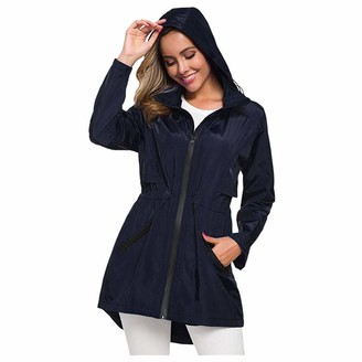 LOPILY Women's Jackets Solid Color Long Sleeve Trench Coats Waterproof Raincoat Lapel Long Belt Plus Size(Navy 8 UK/L CN)