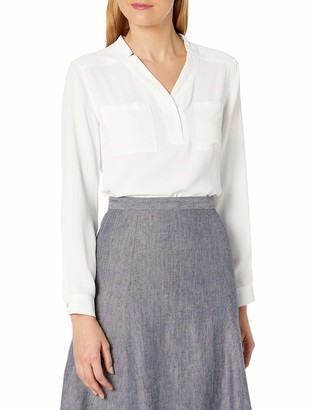 Nine West Women's Long Sleeve Crepe Top with Pockets
