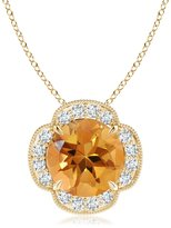 Angara.com Claw Set Diamond Halo Citrine Clover Pendant in 14K Yellow Gold (10mm Citrine)