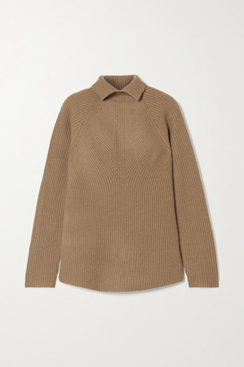 Theory Ribbed Cashmere Turtleneck Sweater - Camel
