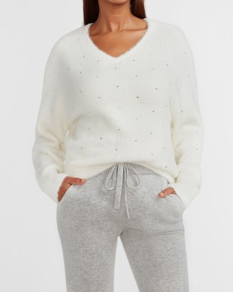 Express Cozy Faux Fur Embellished Sweater