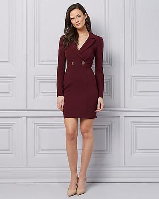 Le Château Knit Crepe Wrap-Like Blazer Dress