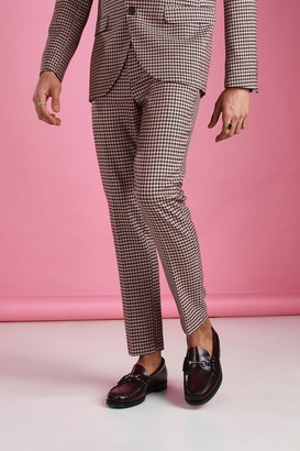 boohoo Mens Pink Skinny Heritage Dogtooth Check Suit Trouser, Pink
