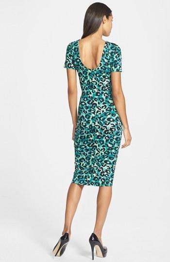 Nordstrom FELICITY & COCO Leopard Print Scoop Back Midi Dress Exclusive)